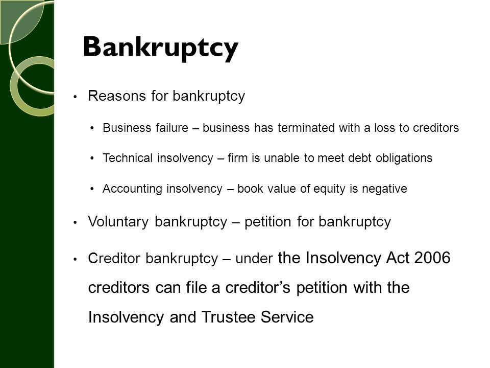 Bankruptcy Reasons for bankruptcy