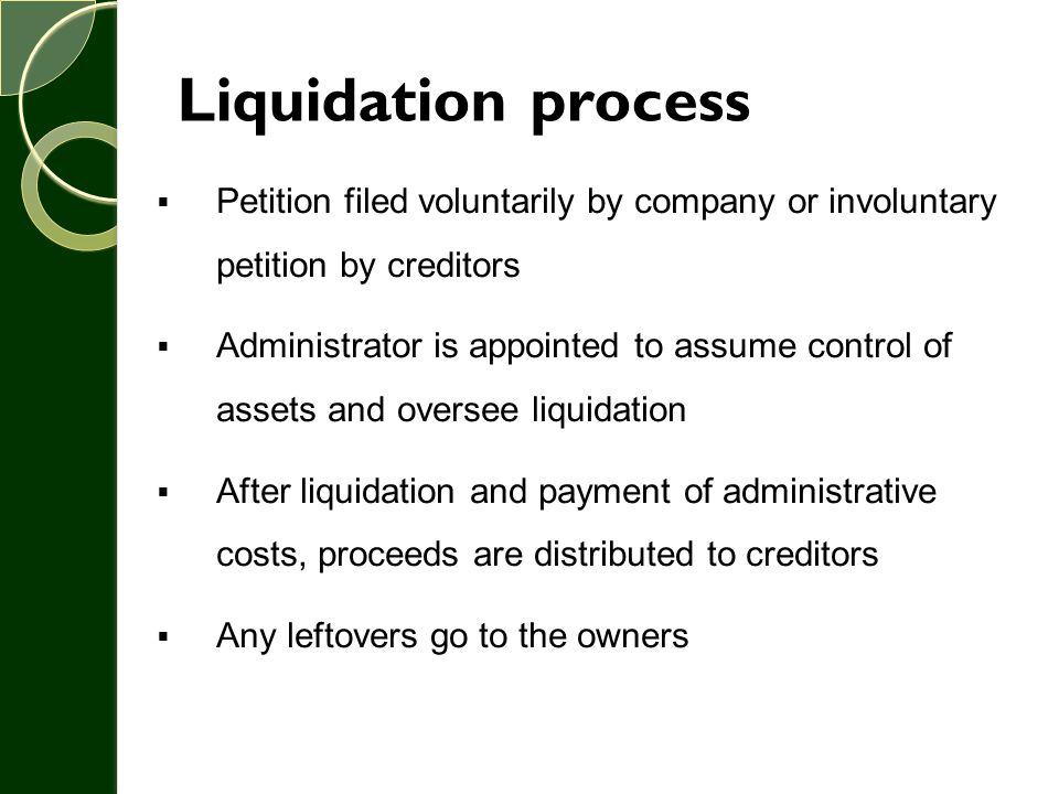 Liquidation process Petition filed voluntarily by company or involuntary petition by creditors.