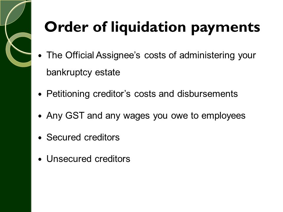 Order of liquidation payments