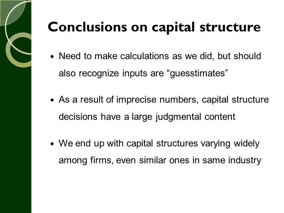 Conclusions on capital structure