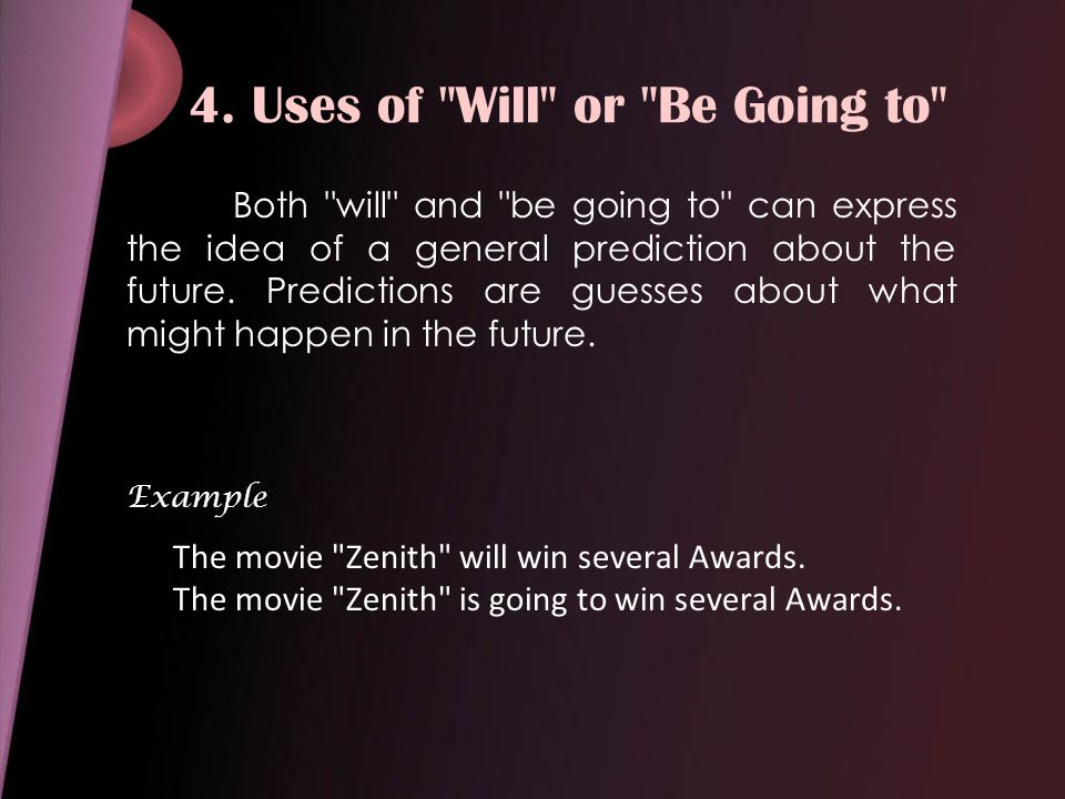4. Uses of Will or Be Going to