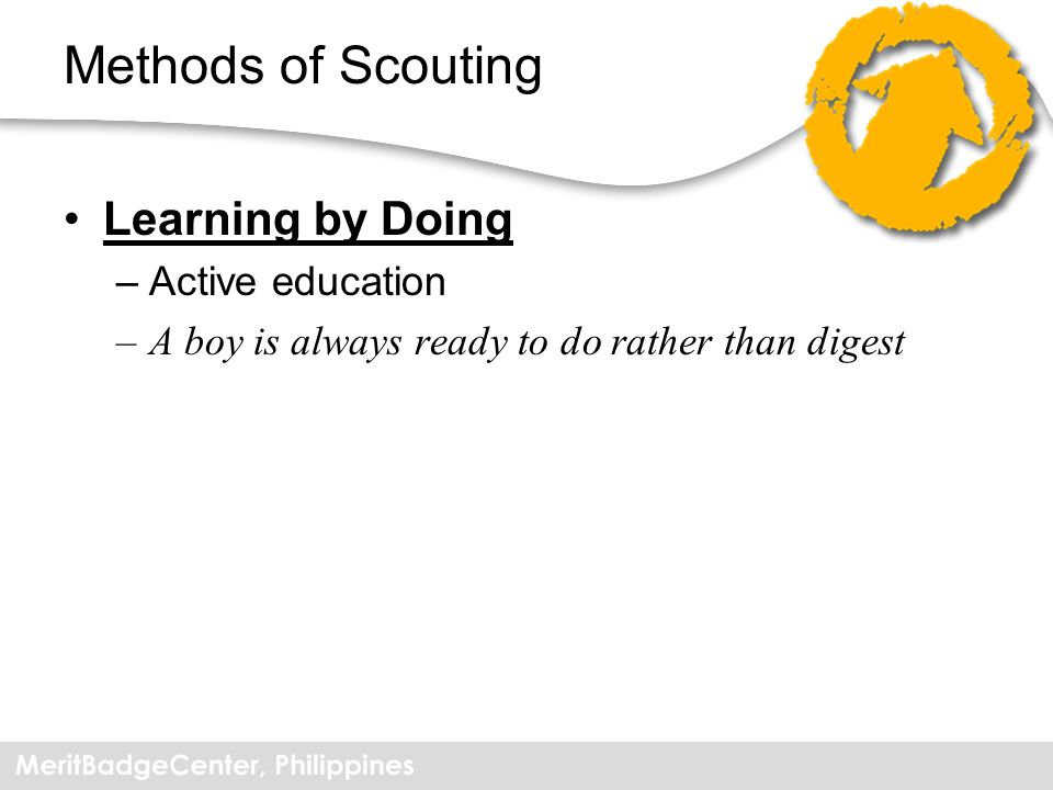 Methods of Scouting Learning by Doing Active education