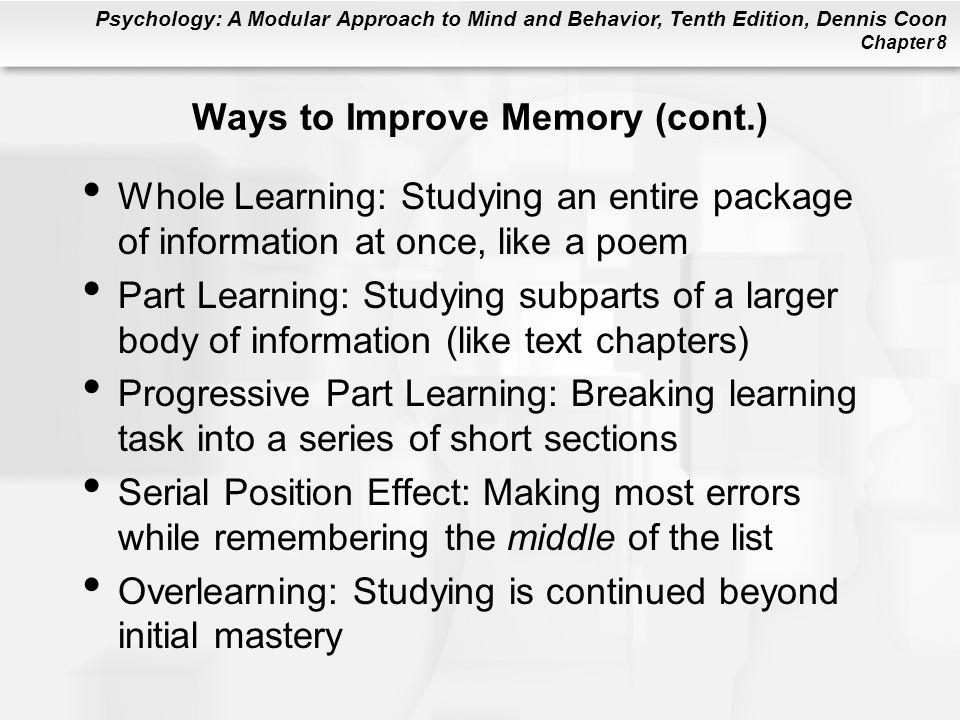 Ways to Improve Memory (cont.)