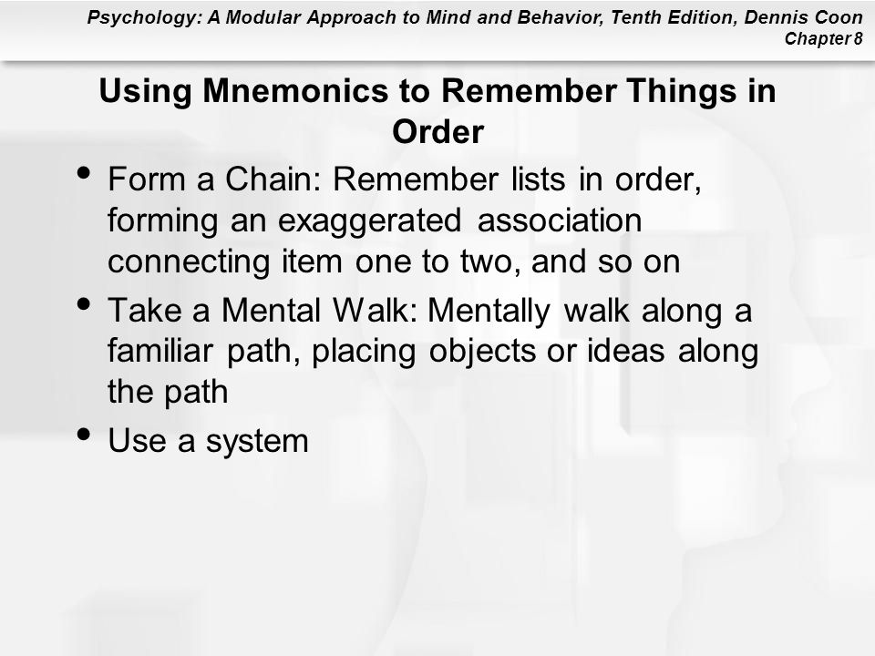 Using Mnemonics to Remember Things in Order