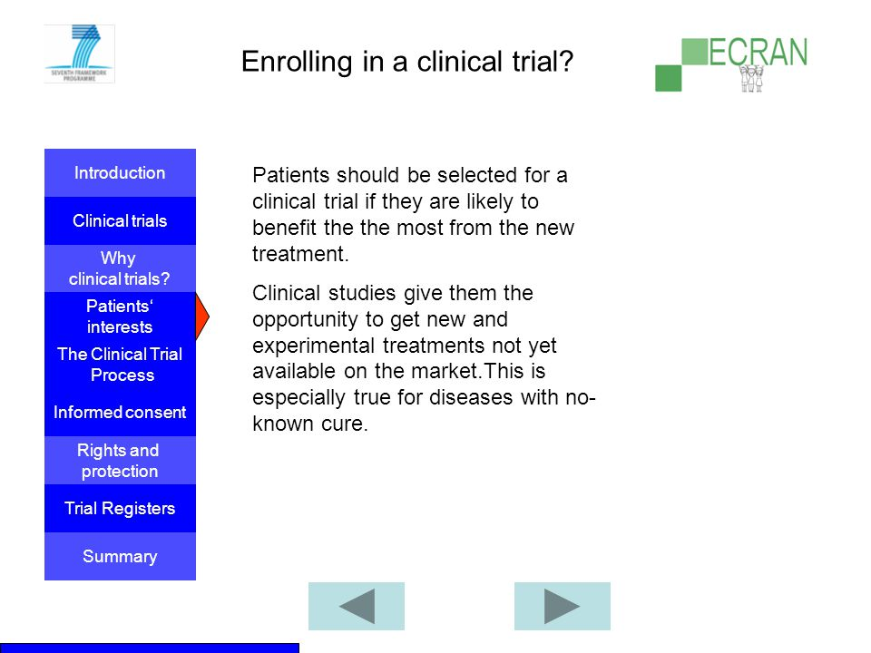 Enrolling in a clinical trial