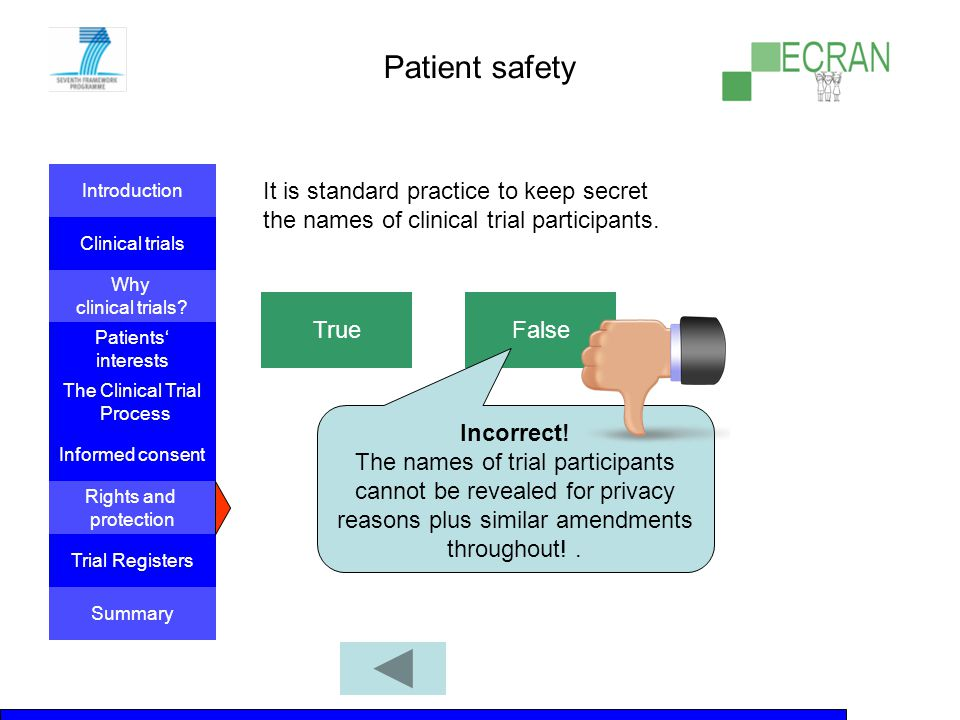 Patient safety It is standard practice to keep secret the names of clinical trial participants. True.