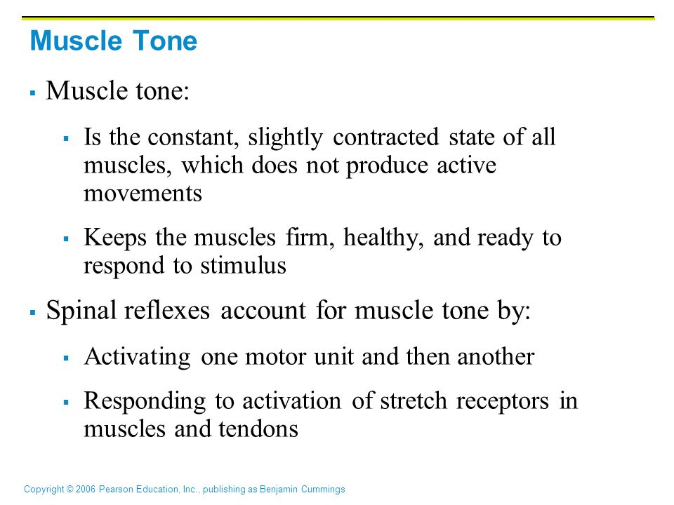 Spinal reflexes account for muscle tone by: