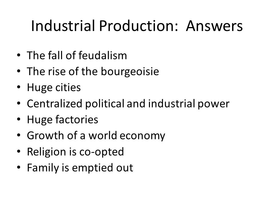 Industrial Production: Answers