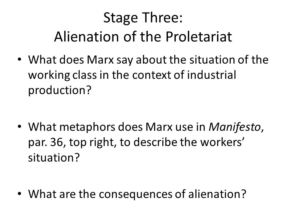 Stage Three: Alienation of the Proletariat