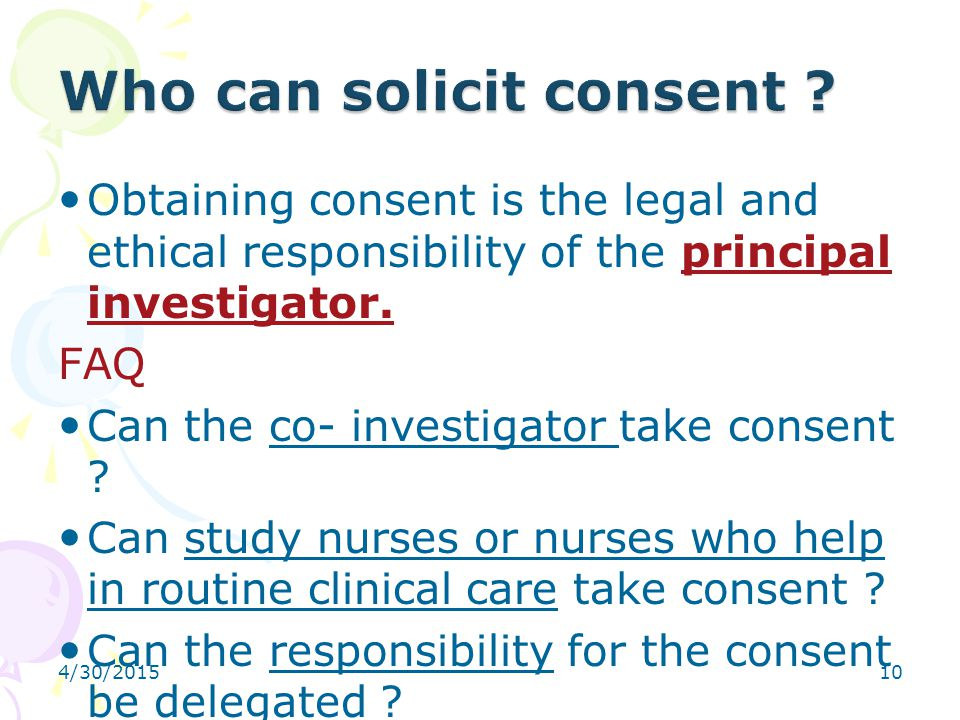 Who can solicit consent
