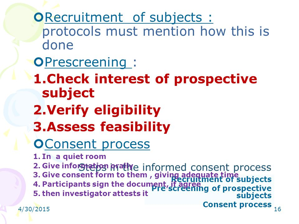 Steps in the informed consent process
