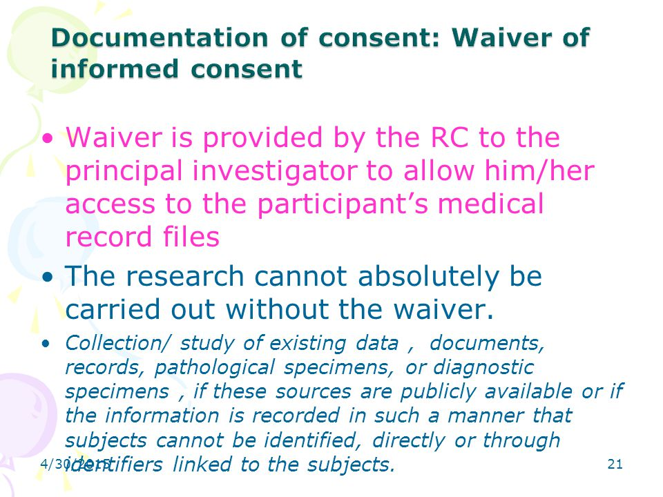 Documentation of consent: Waiver of informed consent