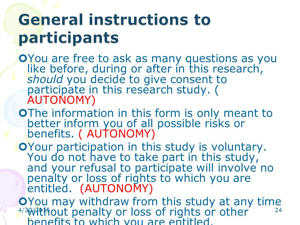 General instructions to participants