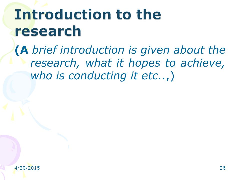 Introduction to the research