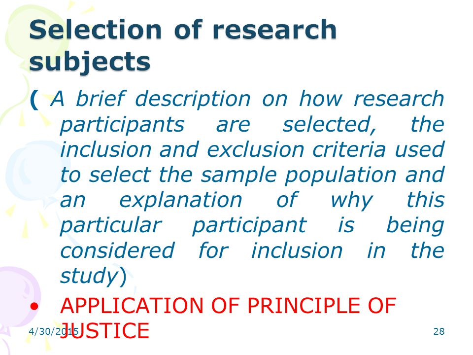 Selection of research subjects
