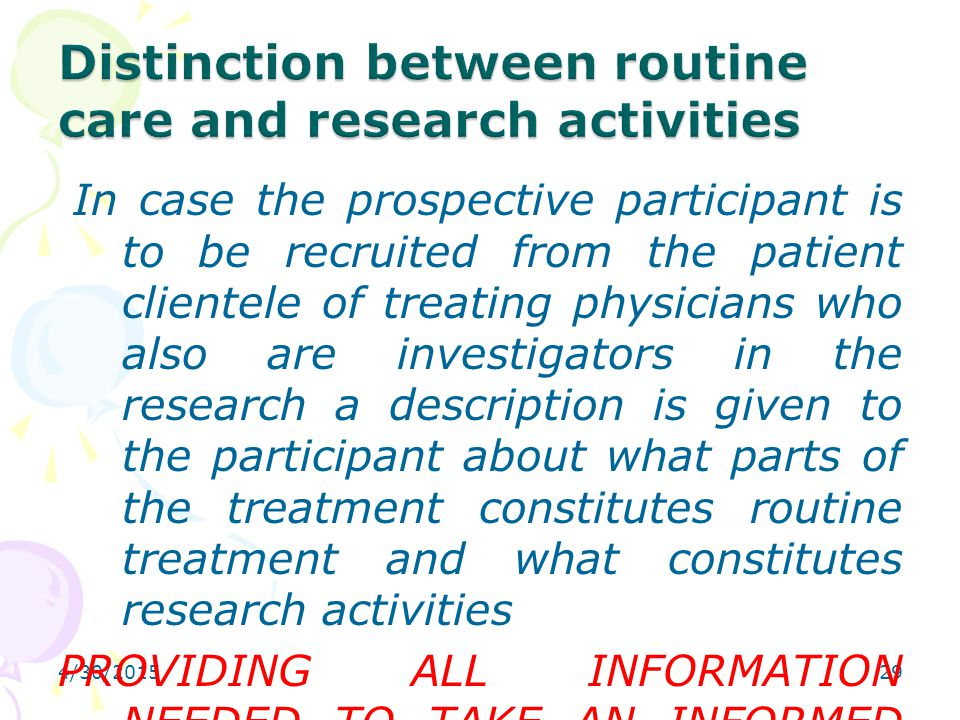 Distinction between routine care and research activities