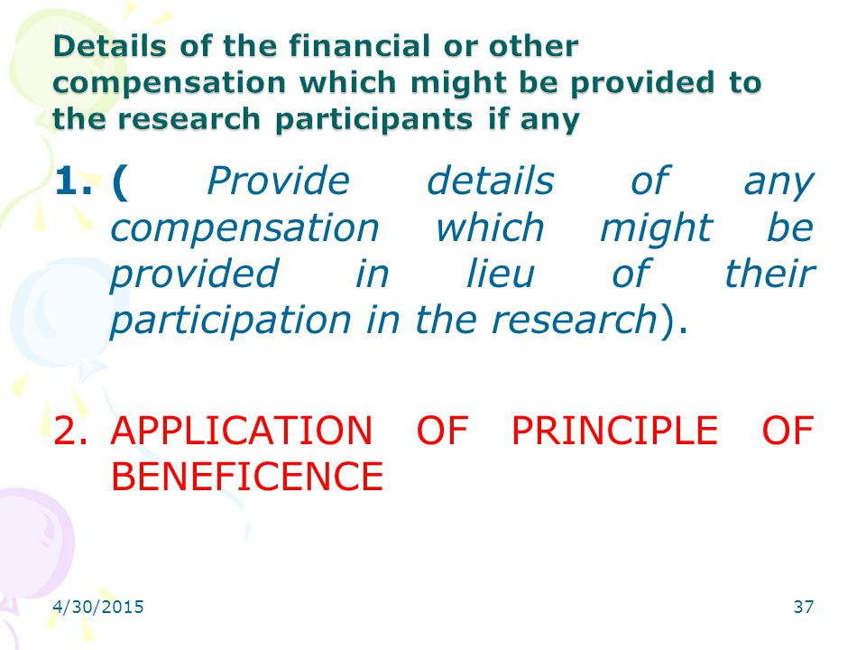 APPLICATION OF PRINCIPLE OF BENEFICENCE