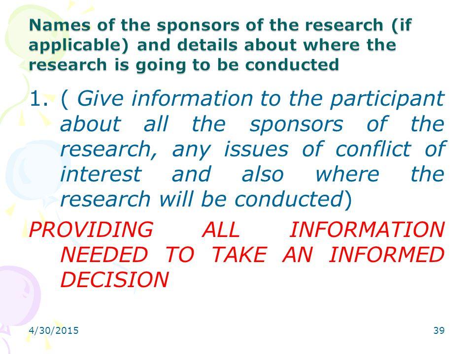 PROVIDING ALL INFORMATION NEEDED TO TAKE AN INFORMED DECISION