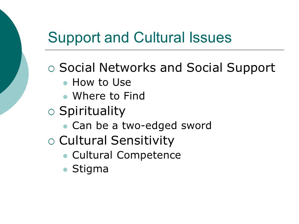 Support and Cultural Issues