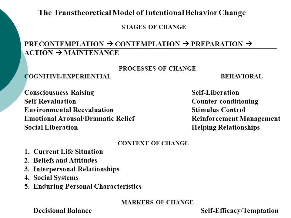 PRECONTEMPLATION  CONTEMPLATION  PREPARATION  ACTION  MAINTENANCE
