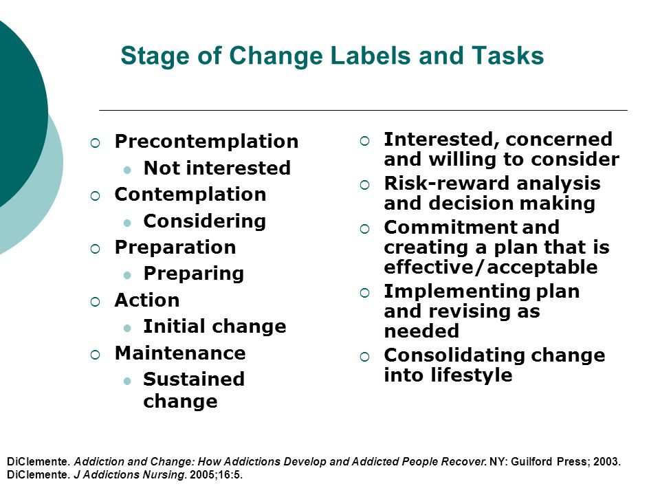 Stage of Change Labels and Tasks