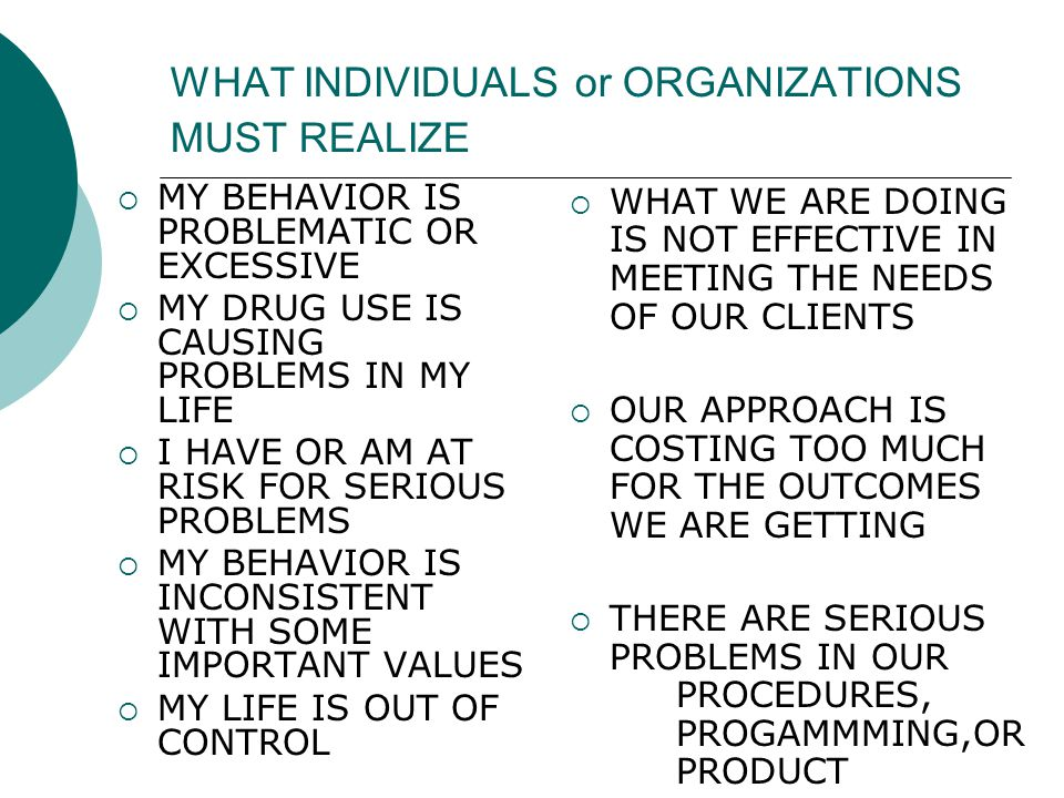 WHAT INDIVIDUALS or ORGANIZATIONS MUST REALIZE