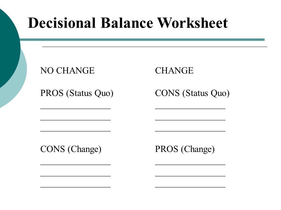 Decisional Balance Worksheet