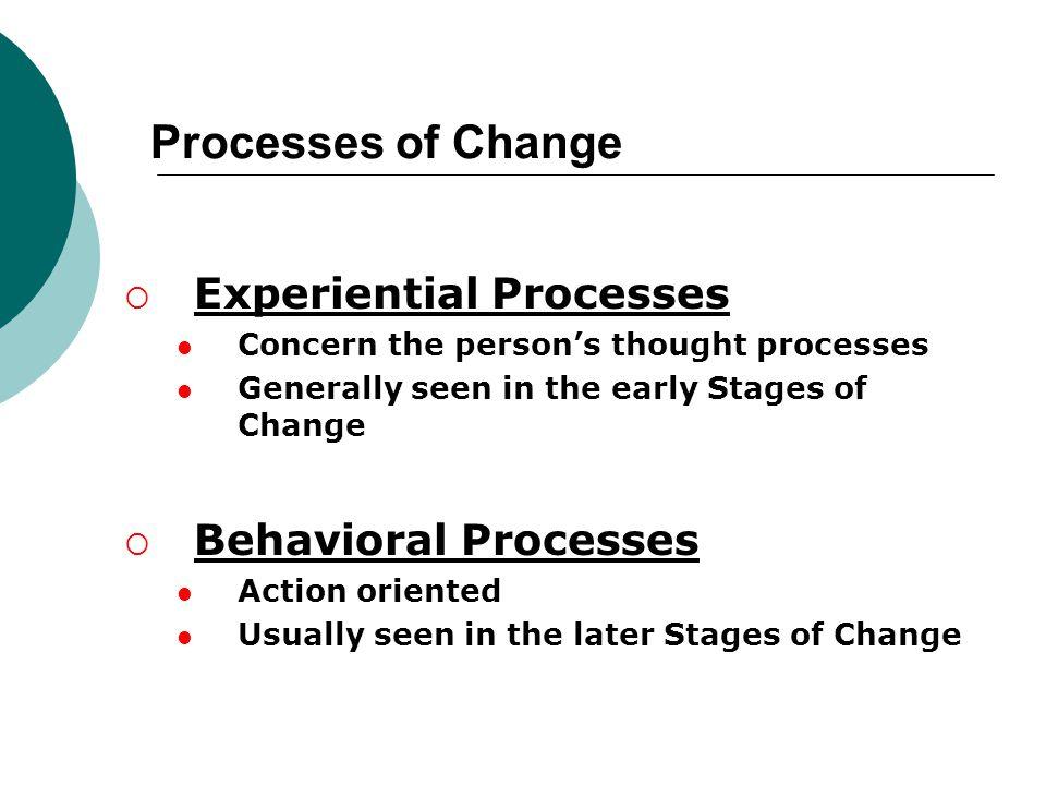 Processes of Change Experiential Processes Behavioral Processes