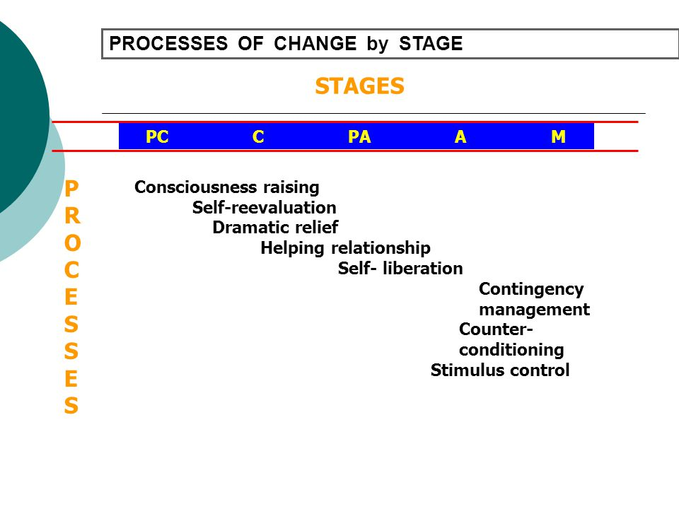 STAGES P R O C E S PROCESSES OF CHANGE by STAGE PC C PA A M