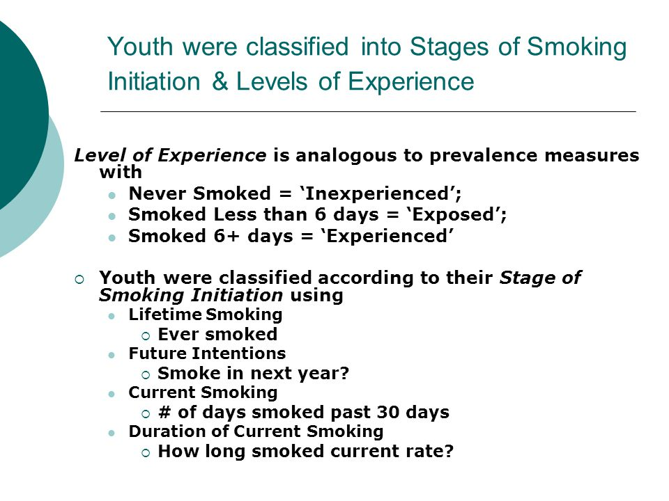 Youth were classified into Stages of Smoking Initiation & Levels of Experience