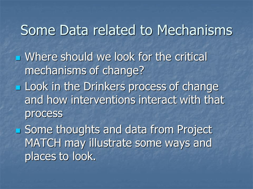 Some Data related to Mechanisms