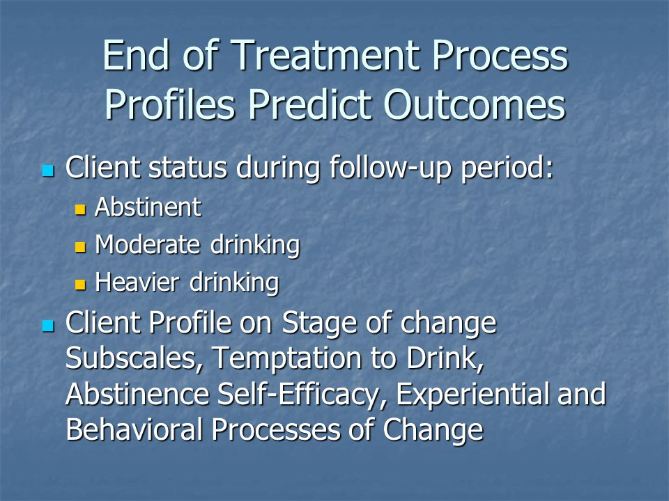 End of Treatment Process Profiles Predict Outcomes