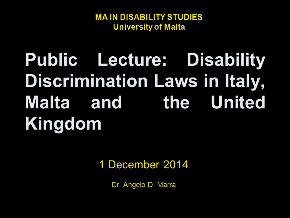 1 December 2014 Dr. Angelo D. Marra