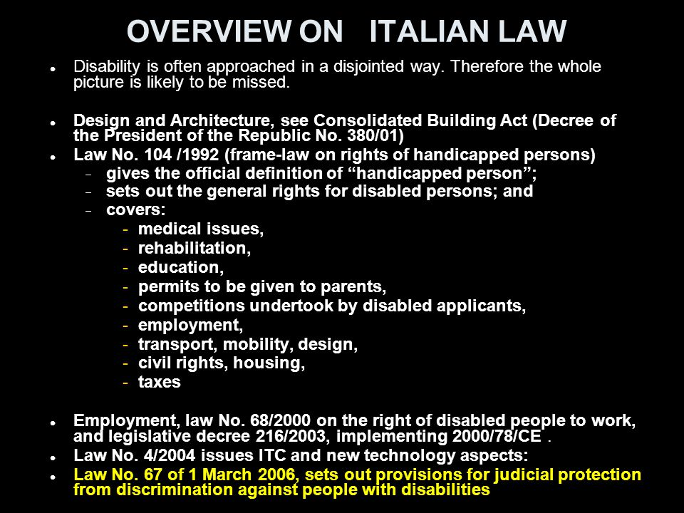 OVERVIEW ON ITALIAN LAW