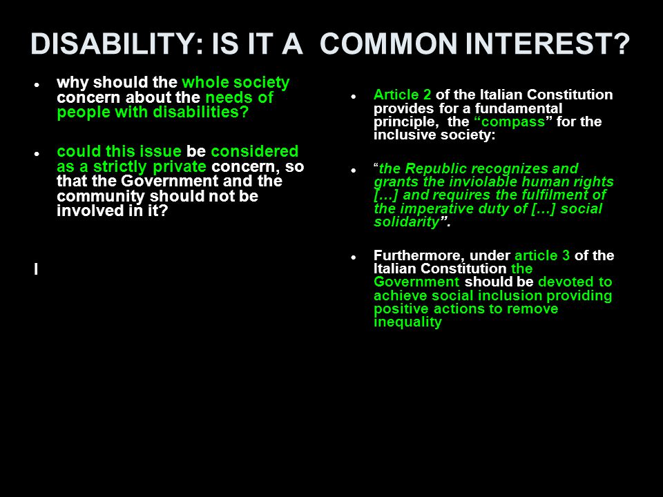 DISABILITY: IS IT A COMMON INTEREST