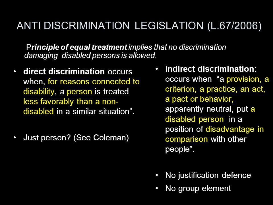 ANTI DISCRIMINATION LEGISLATION (L.67/2006)