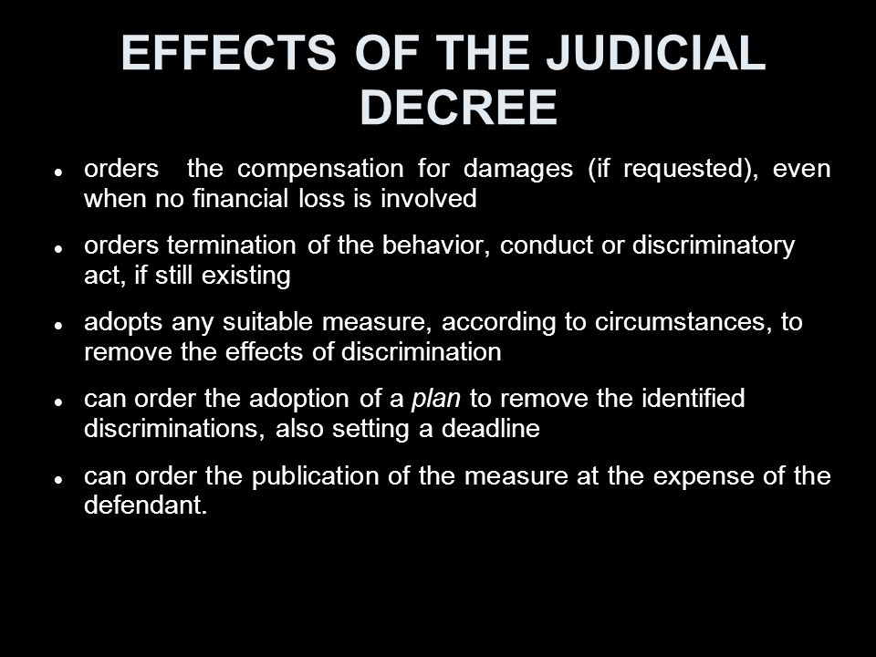 EFFECTS OF THE JUDICIAL DECREE