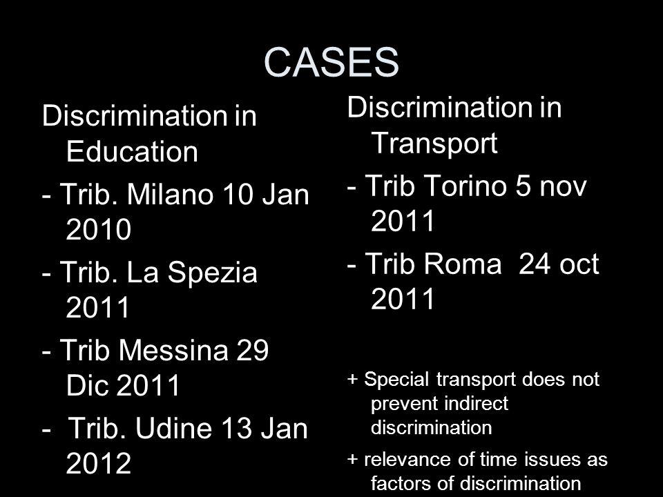 CASES Discrimination in Transport Discrimination in Education