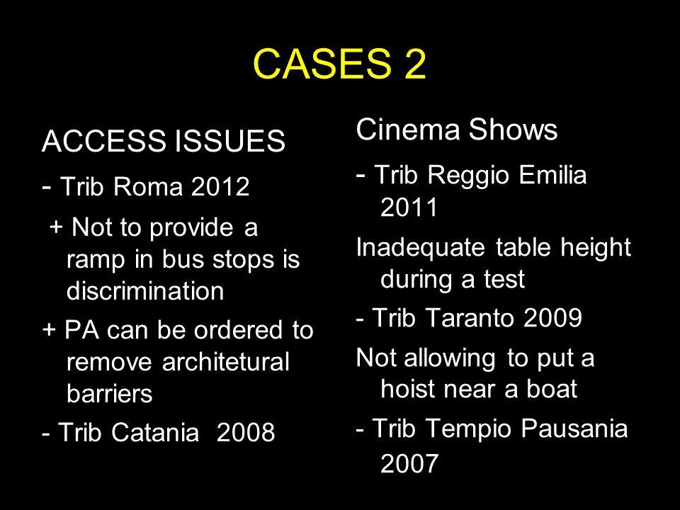 CASES 2 Cinema Shows ACCESS ISSUES - Trib Reggio Emilia 2011