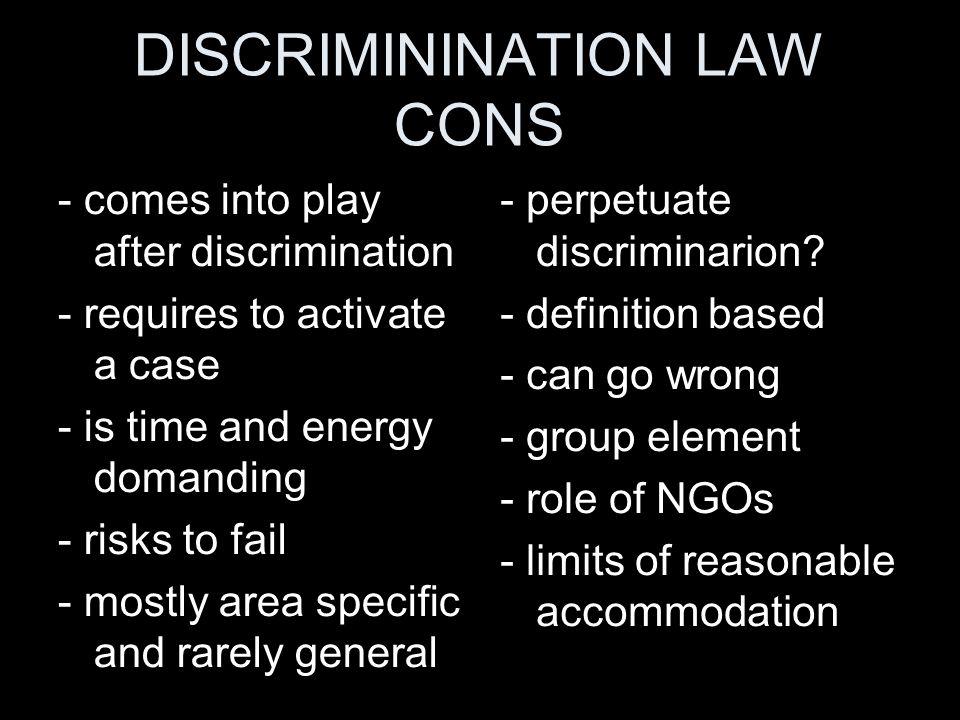 DISCRIMININATION LAW CONS