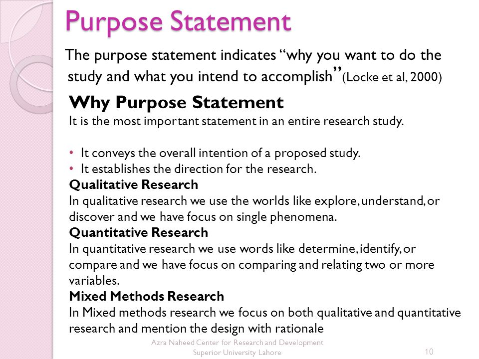Purpose Statement Why Purpose Statement