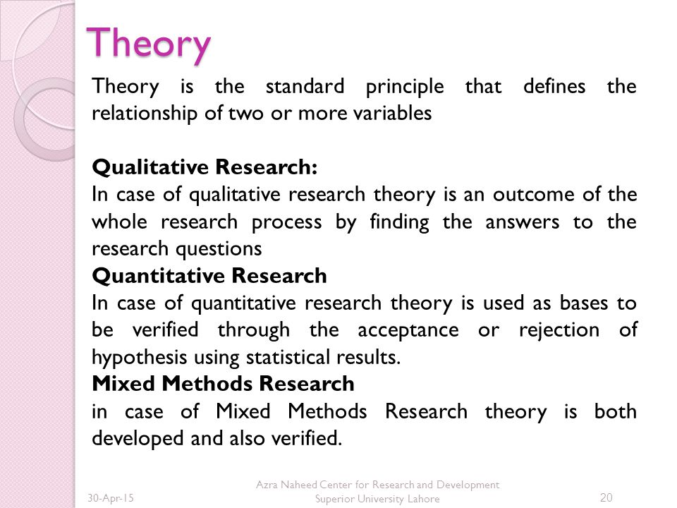 Theory Theory is the standard principle that defines the relationship of two or more variables. Qualitative Research: