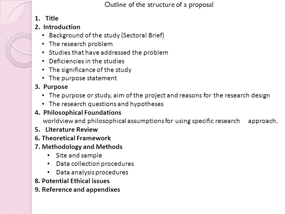 Outline of the structure of a proposal