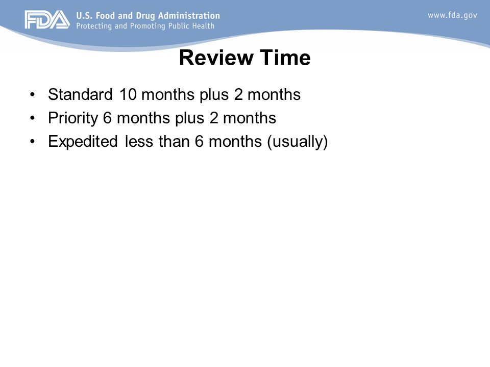 Review Time Standard 10 months plus 2 months