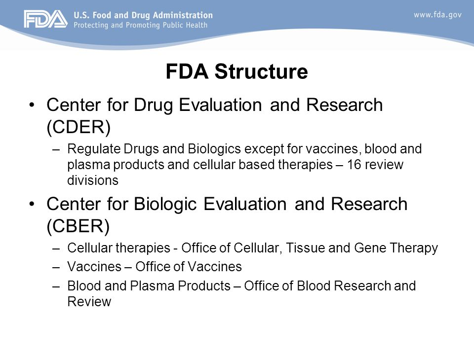 FDA Structure Center for Drug Evaluation and Research (CDER)