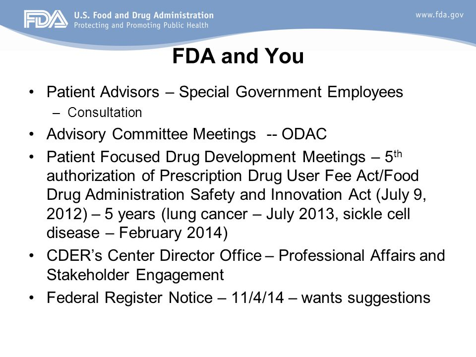 FDA and You Patient Advisors – Special Government Employees