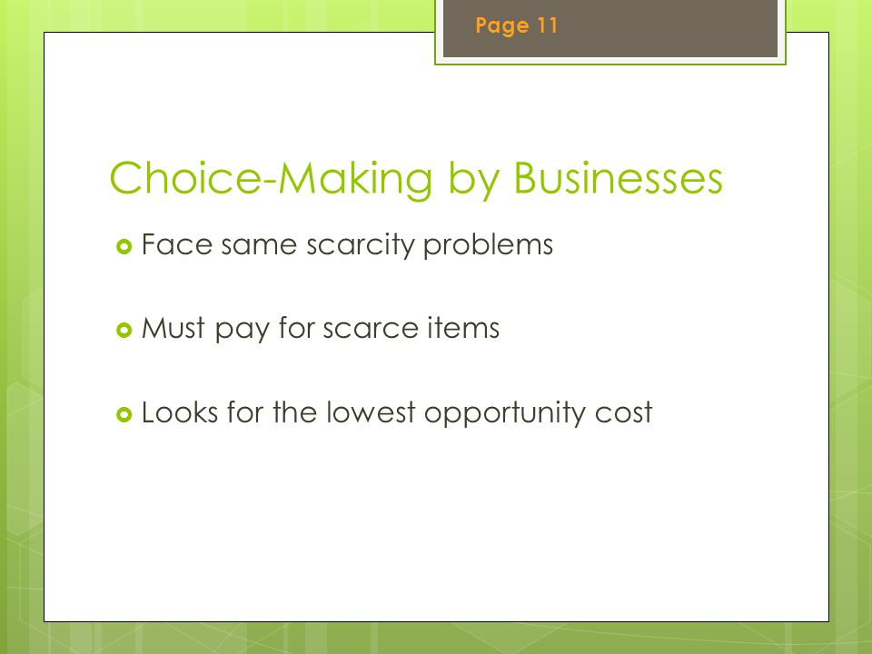 Choice-Making by Businesses