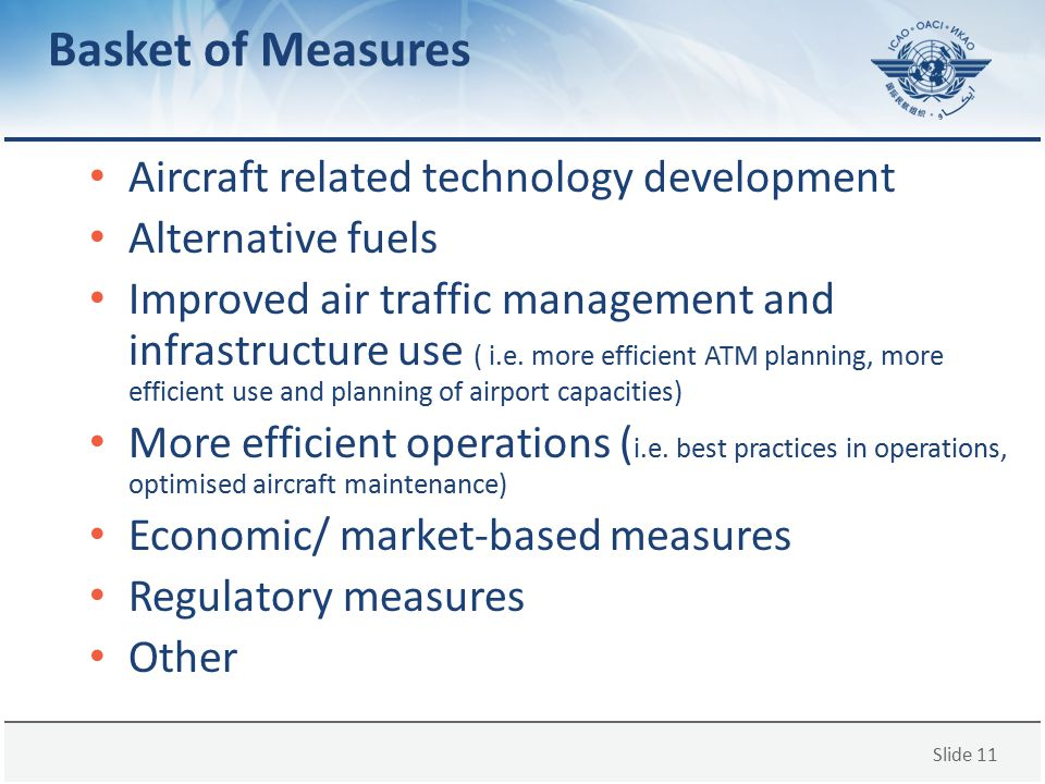 Basket of Measures Aircraft related technology development