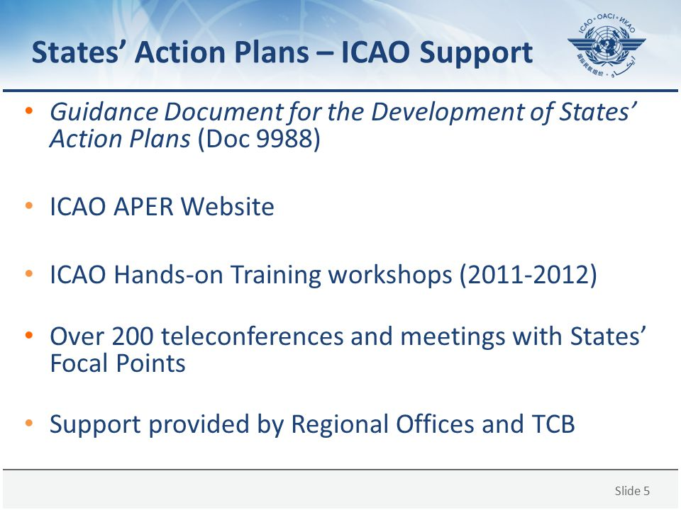 States' Action Plans – ICAO Support