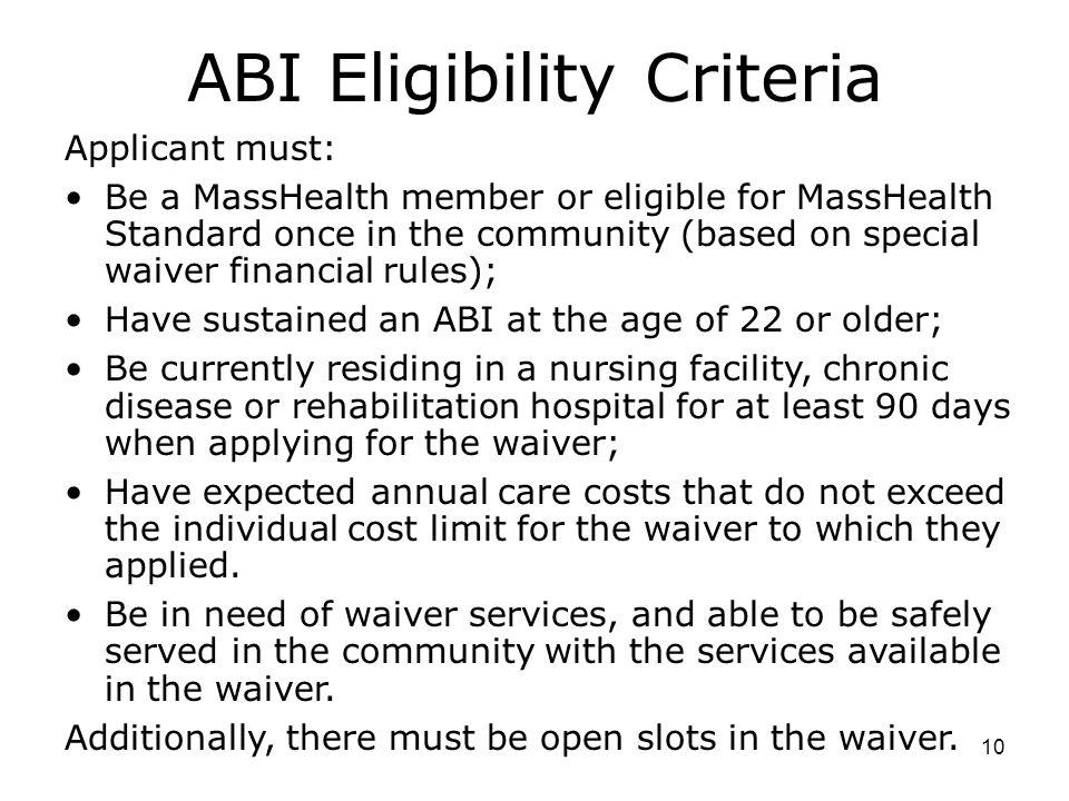 ABI Eligibility Criteria